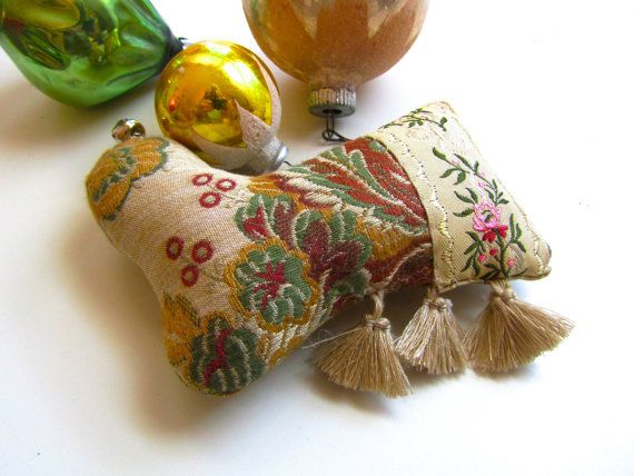Little Brocade Stocking Ornament Tassels and Ribbon by XmasMuse