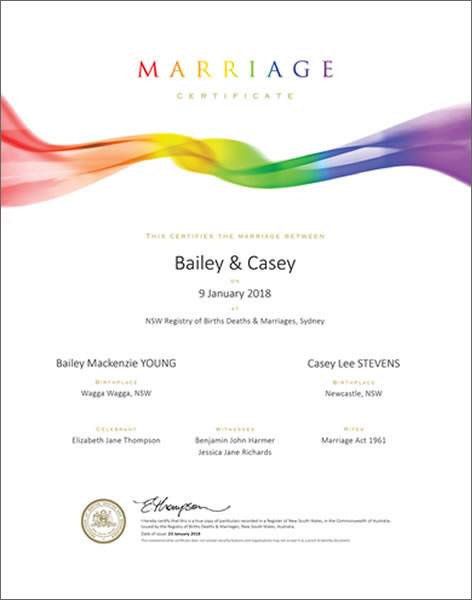 Commemorate your marriage with a Commemorative Marriage