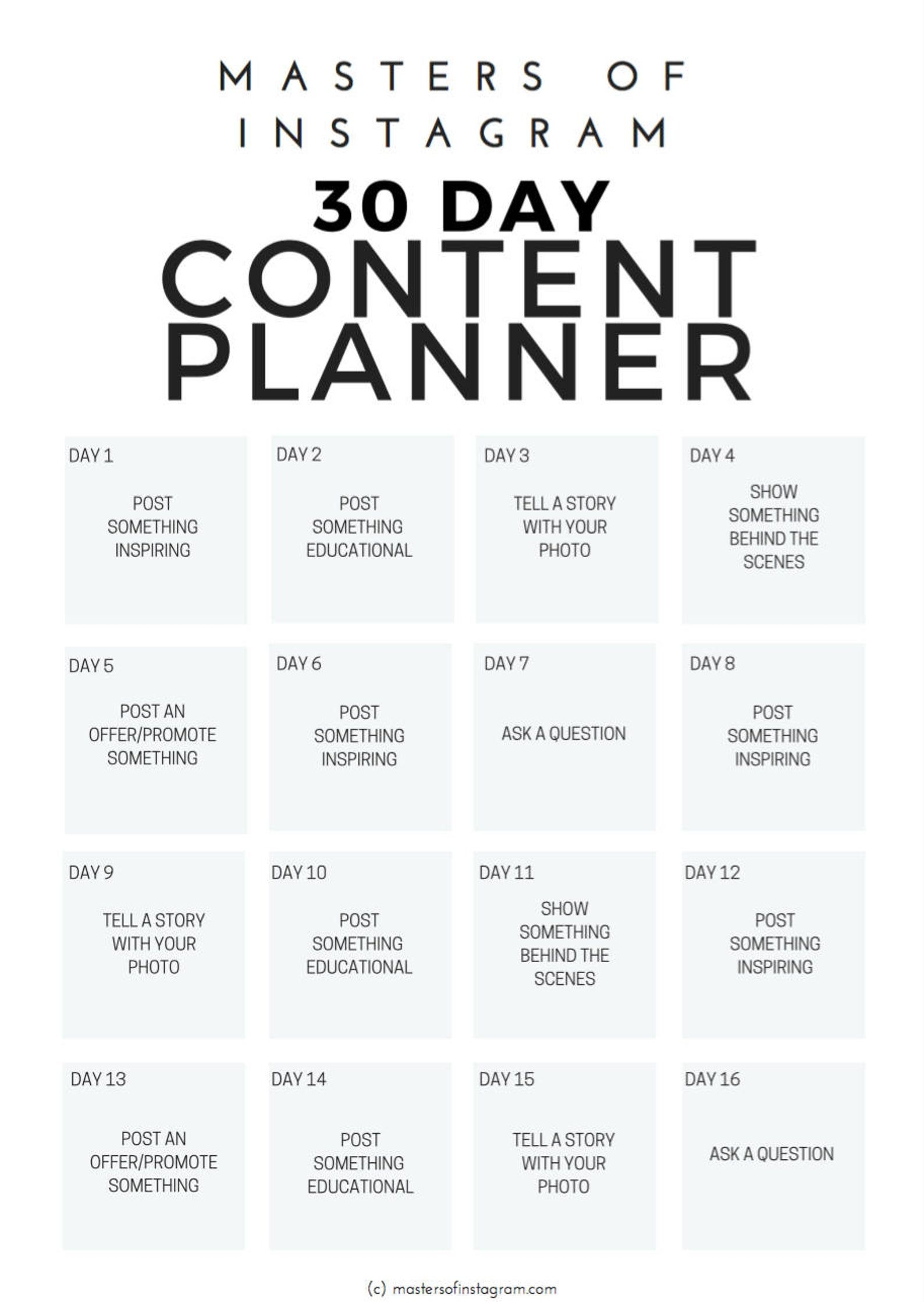 30 Day Instagram Content Planner   Instagram Plann