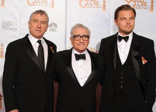 Robert de Niro, Martin Scorsese, and Leonardo Dicaprio in Armani #robertdeniro #leonardodicaprio #martinscorsese #armani #tuxedo