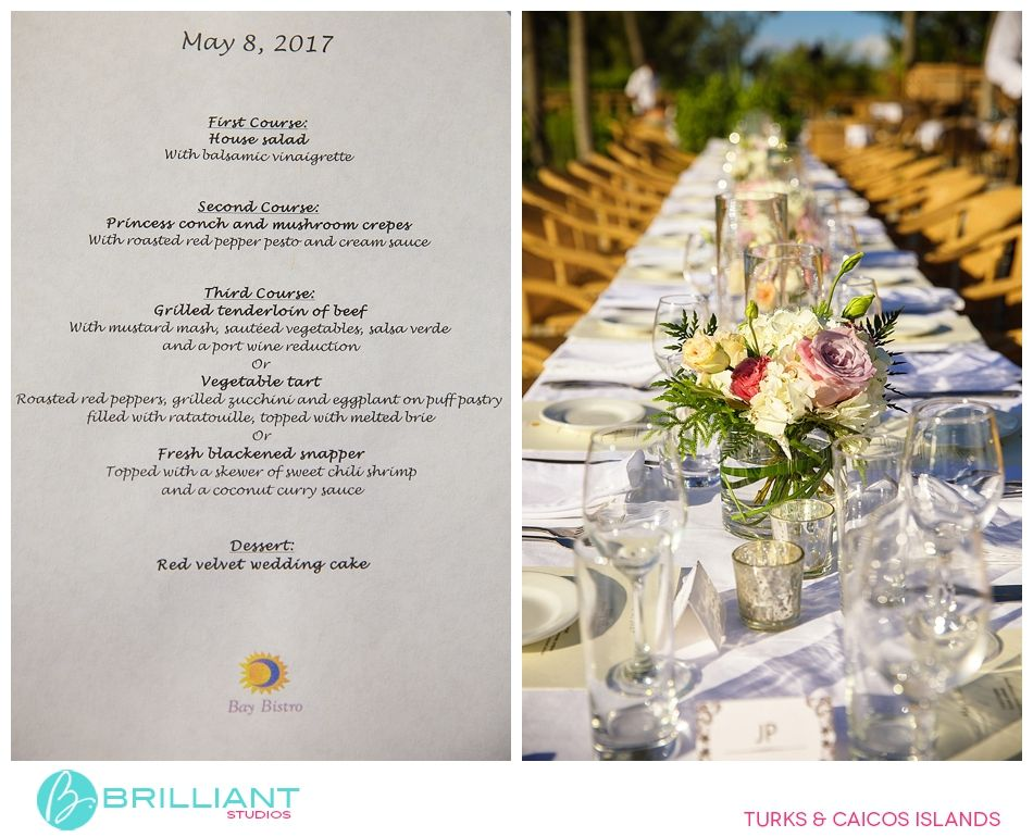 Menu And Reception Set Up At Sibonne In The Turks And