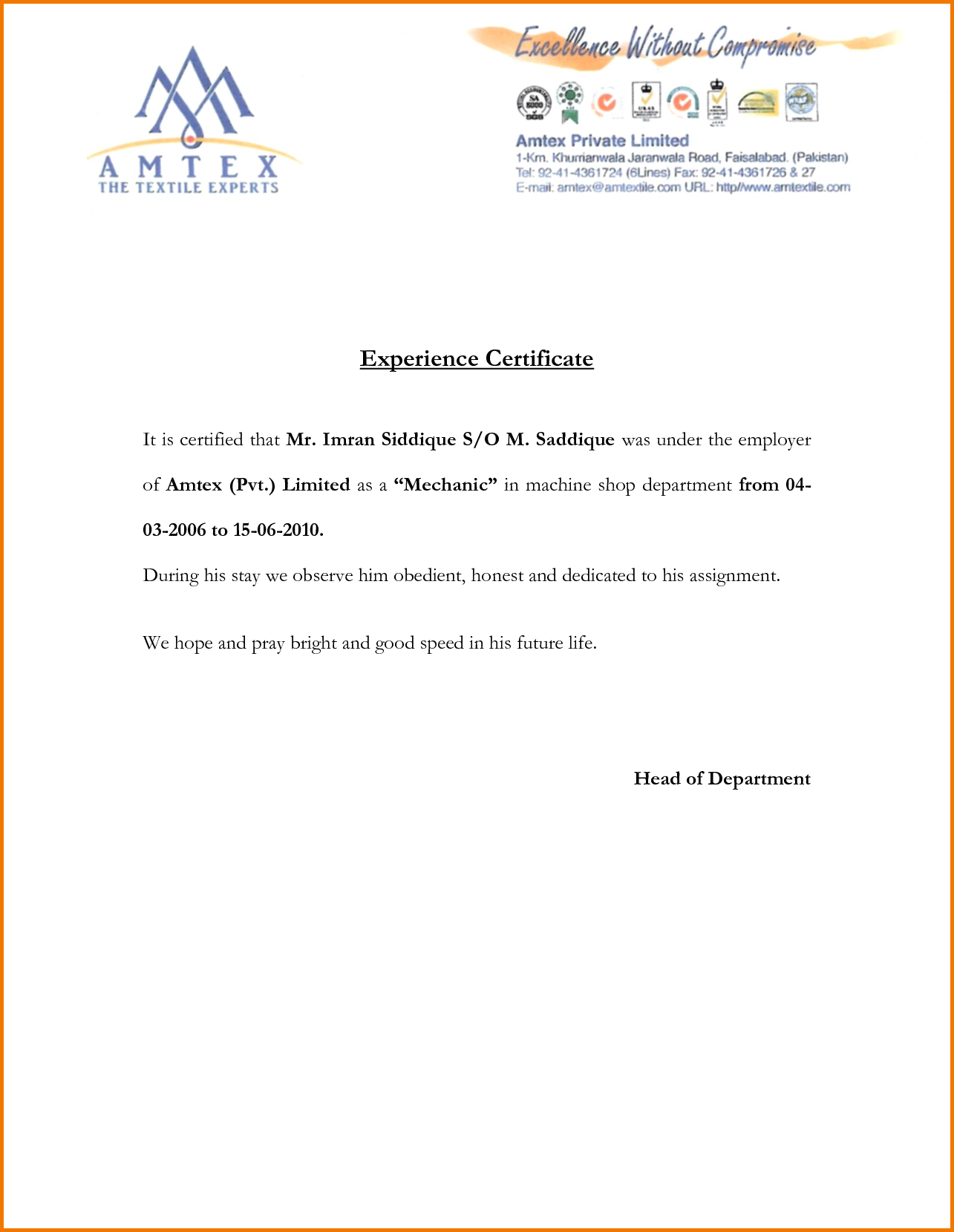 Certification Letter For Financial Statements Experience