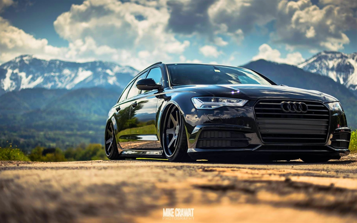 Download Wallpapers Tuning Audi A6 Avant Low Rider Black