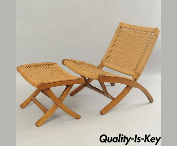 Mid Century Modern Woven Rope Folding Lounge Chair U0026 Ottoman Hans Wegner  Style
