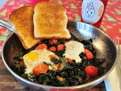 Baked Eggs with Kale and Tomatoes