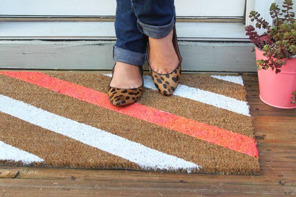 Diy Painted Doormat When It Rains Paper Co Colorful And Fun Paper Goods Office Supplies And Personalized Gifts Door Mat Diy Door Mat Diy Stripe