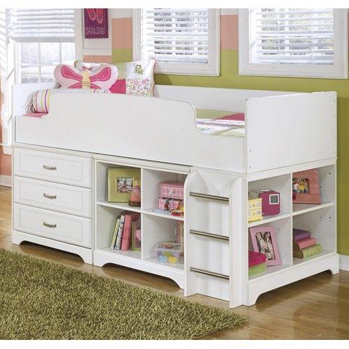 Signature Design by Ashley Lulu Twin Loft Bed w/ Loft Drawer  Bin