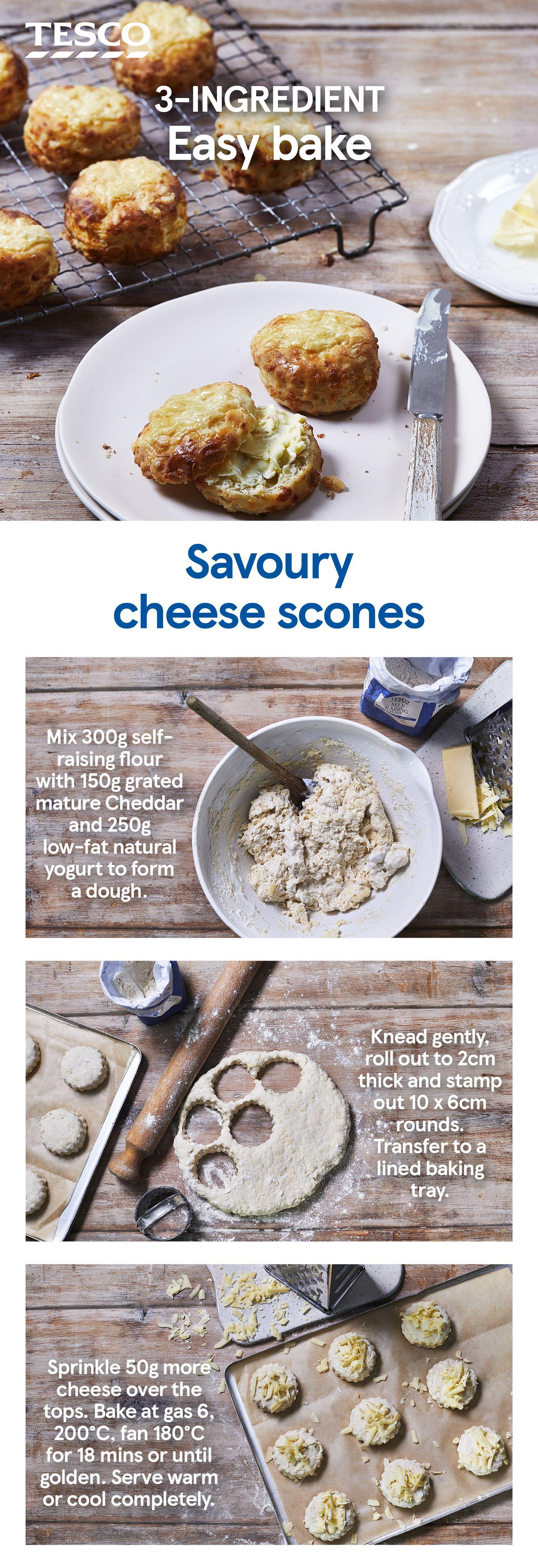 3 Ingredient Savoury Cheese Scones Recipe Cheese Scones Savoury Food Recipes