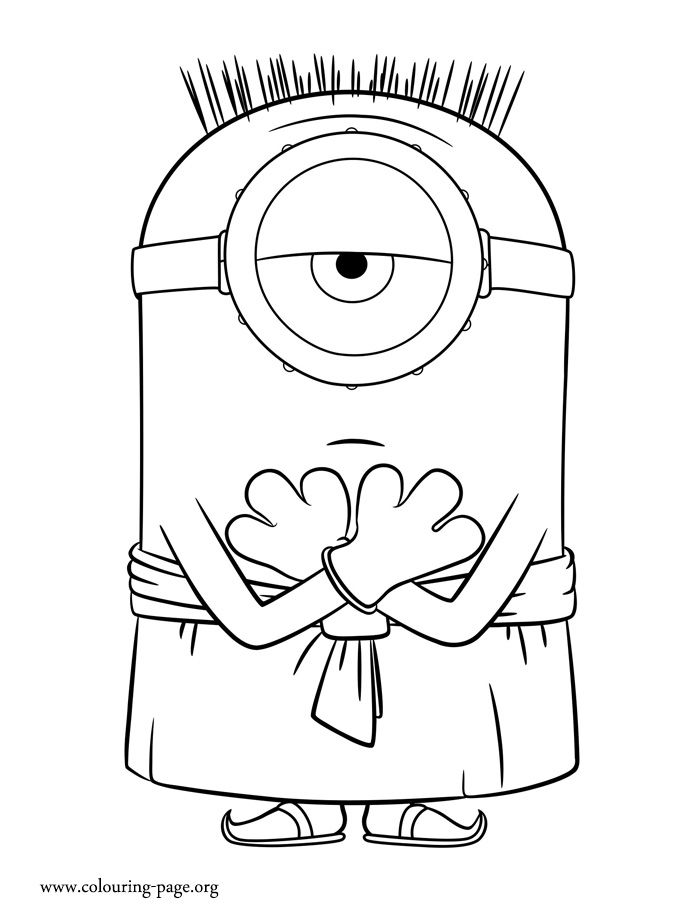 Enjoy With This Free Minions Movie Coloring Page In Picture Stuart Is Dressed