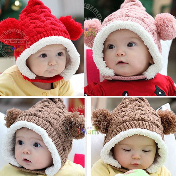 New Winter Baby Hat 0-5Y Infant Unisex Multicolored Warm Knitted Hats Two Balls  Cap Xmas Gift  Affiliate 56caeb9e42a