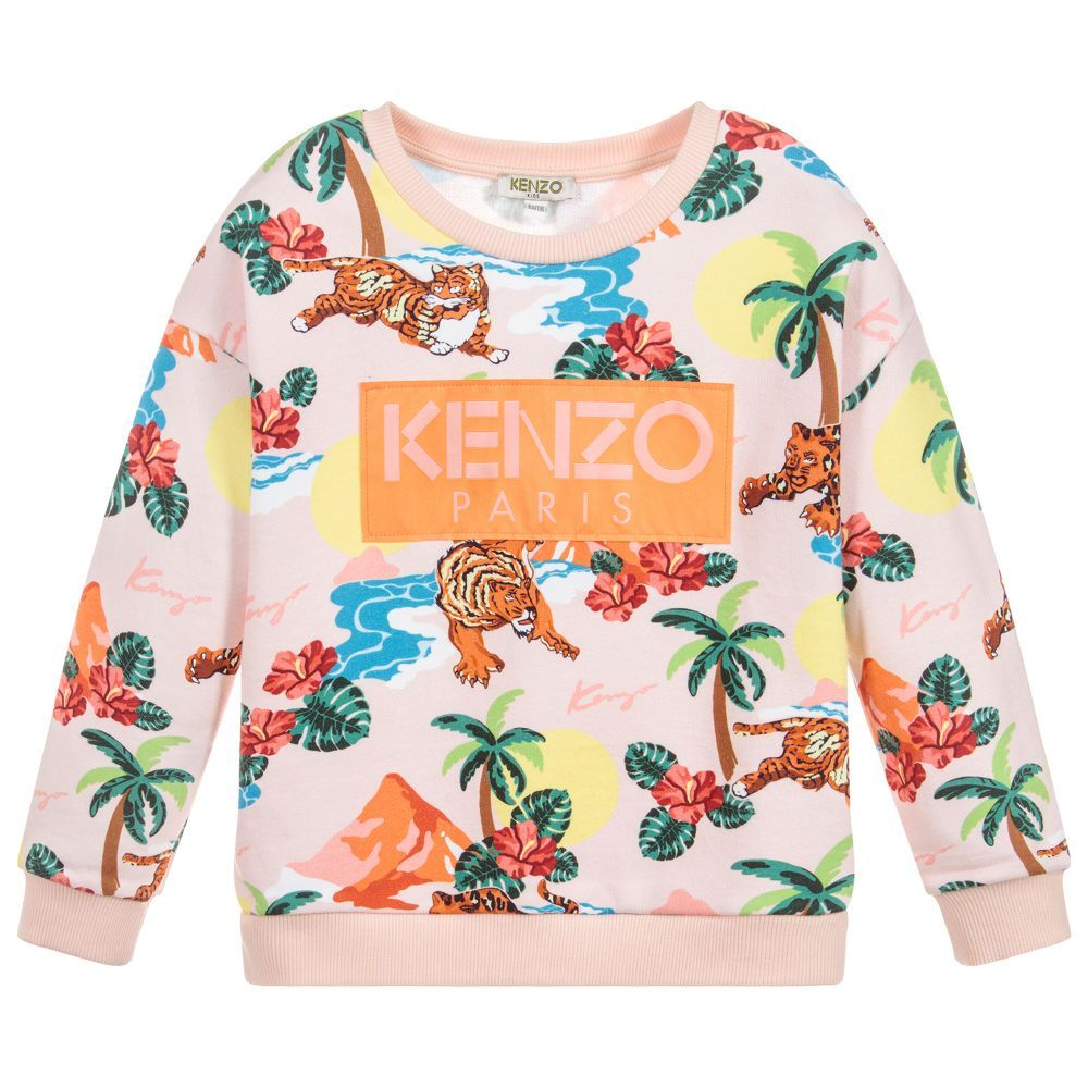 2fd7054dbf02 Girls pink loose fit sweatshirt by luxury brand Kenzo Kids. It is made in  soft cotton jersey with a Surfing Tiger print and orange woven logo patch.
