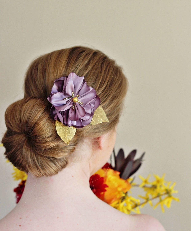 gold leaf hairpiece,purple hair flower bridal hairpiece
