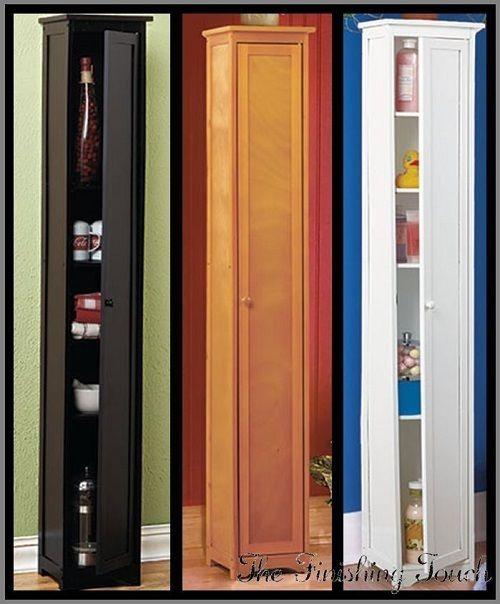 Narrow Kitchen Cabinets: Skinny Slim Tall Wood Cabinet Storage Shelves Pantry