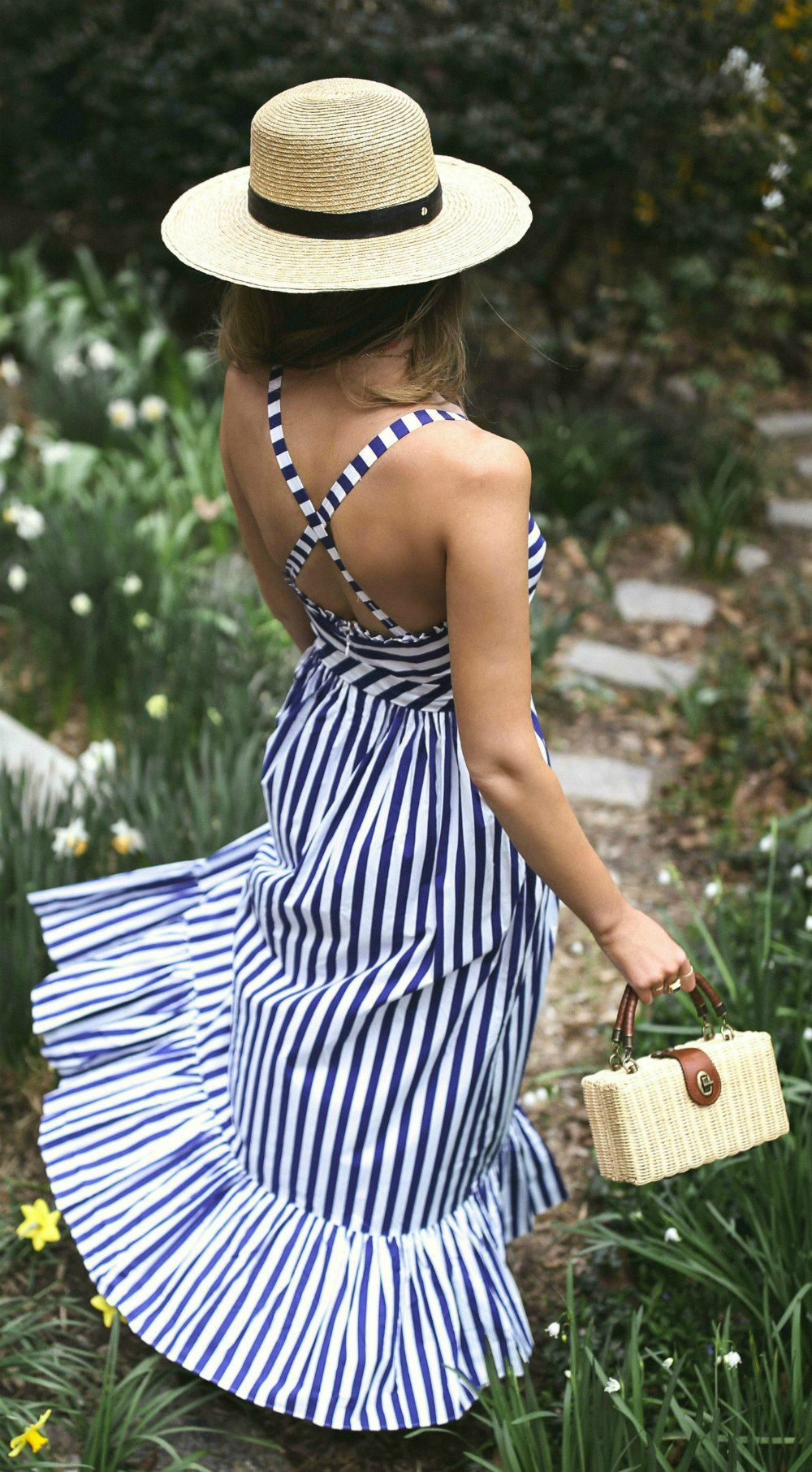 30 Dresses In 30 Days What To Wear To A Picnic Navy And White Stripe Maxi Dress Embroidered Navy Slides S Fashion Long Dress Outfits Striped Dress Summer [ 1812 x 1000 Pixel ]