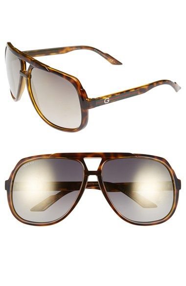 a3818faf98 Gucci Logo Temple 63mm Aviator Sunglasses available at  Nordstrom ...