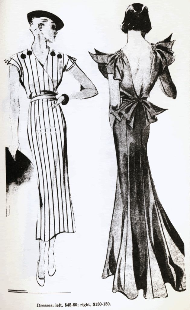 1920 With Fishtail Skirt Backless Stylized Sleeves 1930s Fashion Fashion Illustration Vintage Vintage Fashion 1930s
