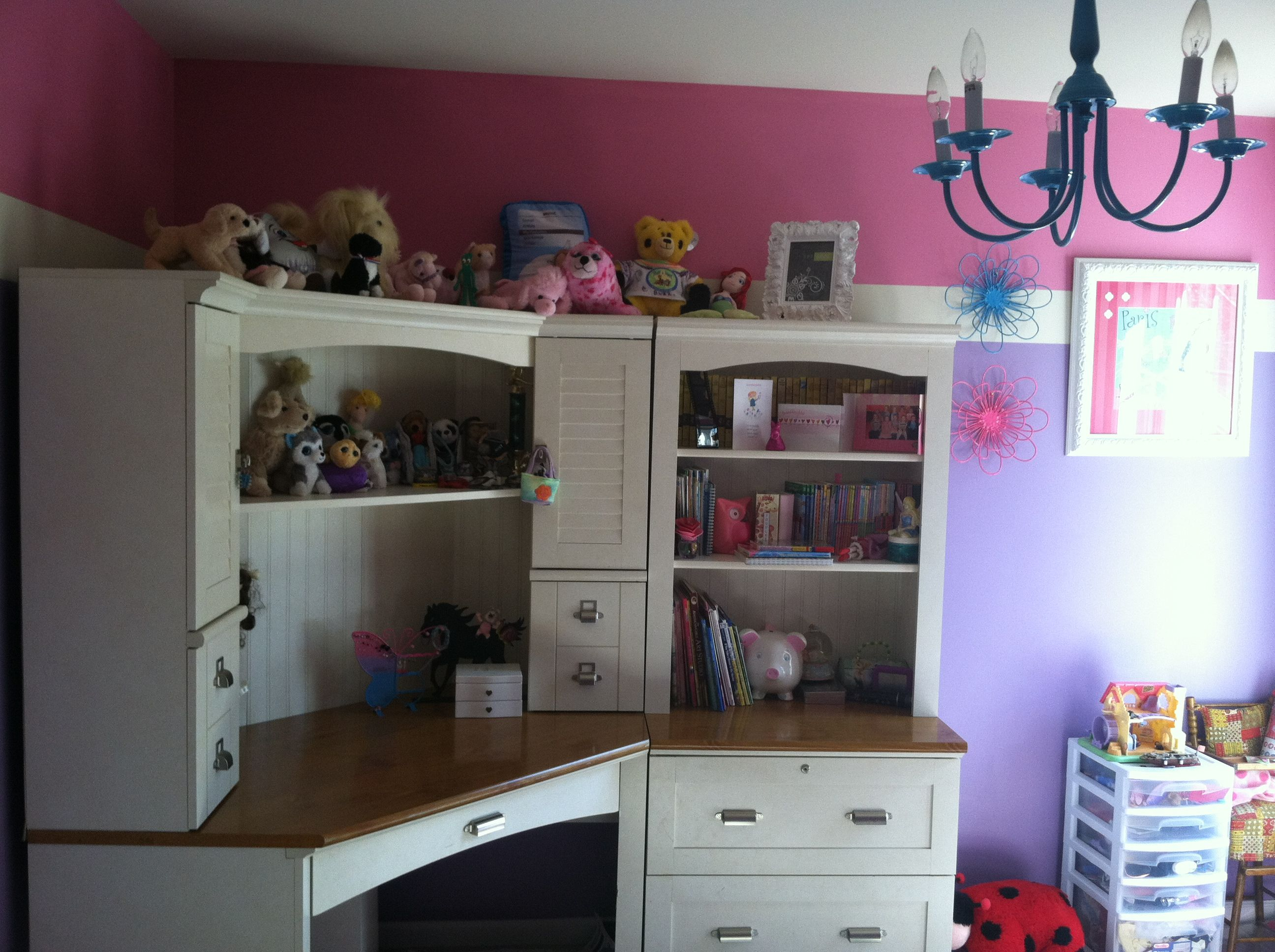 Purple And Pink Girls Bedroom With Turquoise Painted Brass