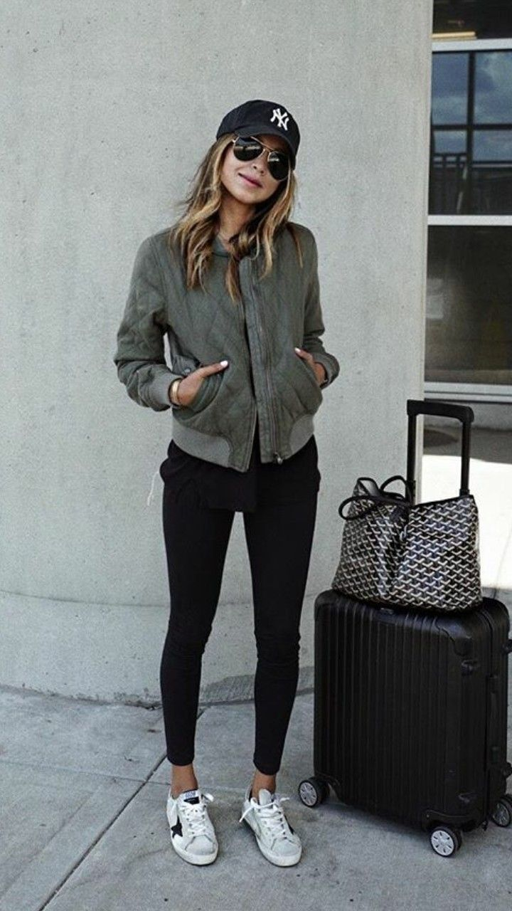 Casual Outfit Cap Long Tee Semi Cropped Jacket Leggings Tenni Shoes Comfy Travel Outfit Athleisure Outfits Airport Outfit