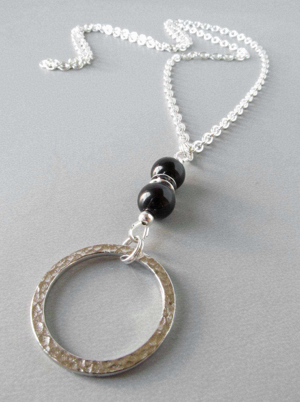 f1f1ec7892e3 Silver Eyeglass Holder Necklace Black Onyx Eye by HalfSnow. Silver Eyeglass  Holder Necklace Black Onyx Eye by HalfSnow Eyeglass Holder