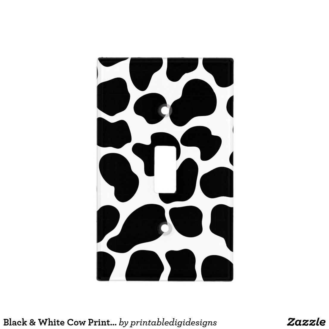 Black Amp White Cow Print Rustic Farm Light Switch Cover