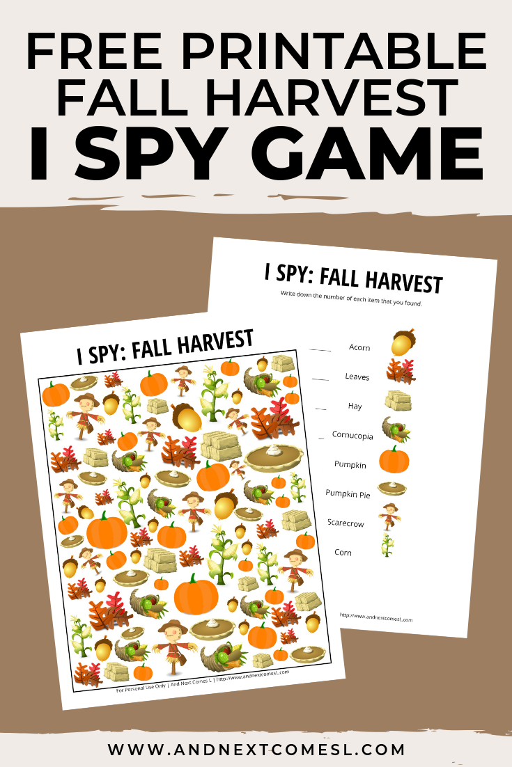 This free fall harvest I spy printable game is perfect for kids to do as an autumn or Thanksgiving activity Theyll love searching and counting for the different fall harv...