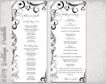 Black White Wedding Program Template Instant Download Scroll - Wedding order of service template