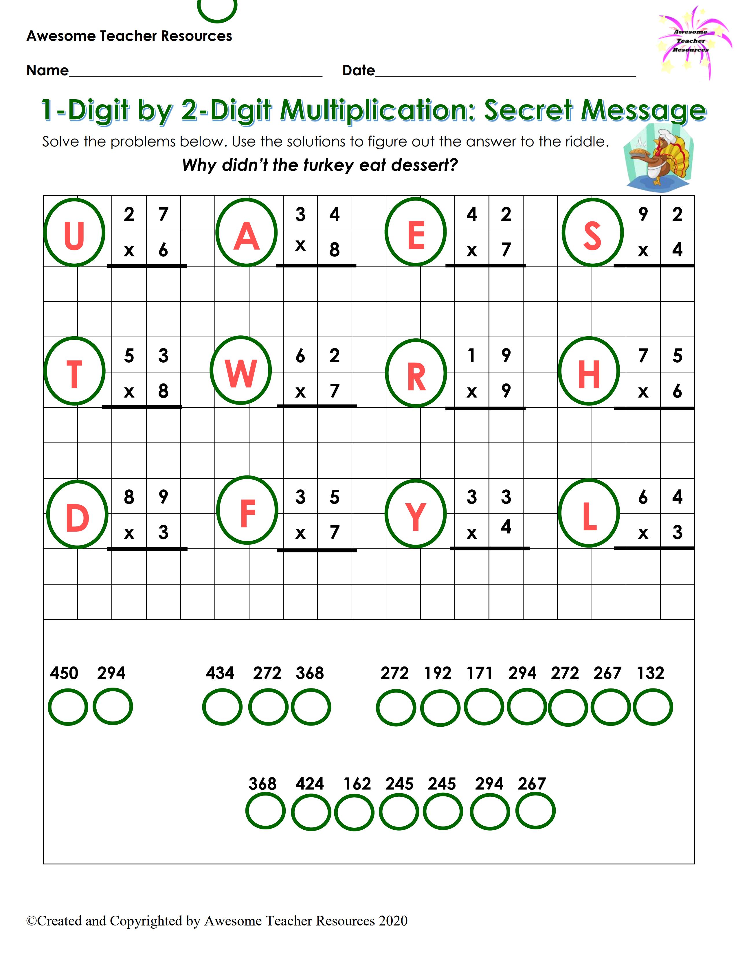 1 Digit By 2 Digit Multiplication Secret Message Worksheet 1 Secret Messages Teacher Resources Best Teacher [ 3300 x 2550 Pixel ]