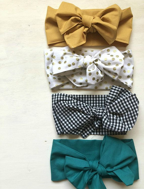 Big Baby Bows, Baby Headwraps, Baby Turbans, Baby Topknots, Baby Headbands, Mustard Baby Bow, Teal B #babyheadbands