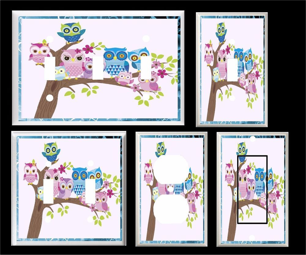Owls in a tree pink green purple nursery light switch cover plate