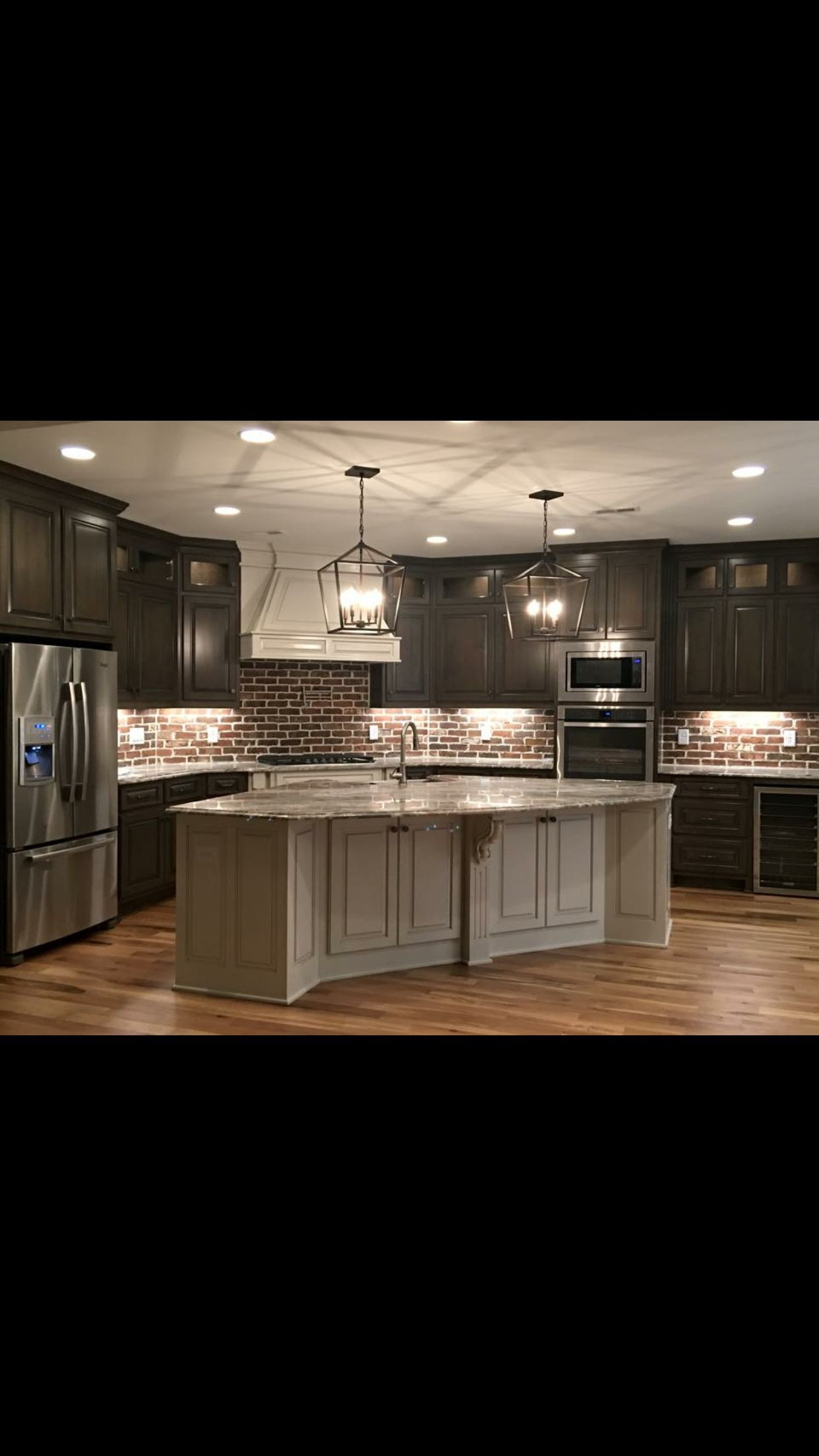 Gray Kitchen Island With Chocolate Cabinets Dark Kitchen Cabinets Brick Backsplash Kitchen Brown Kitchen Cabinets