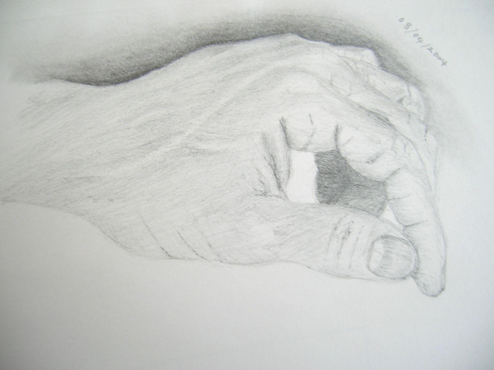 My Left Hand, graphite on paper