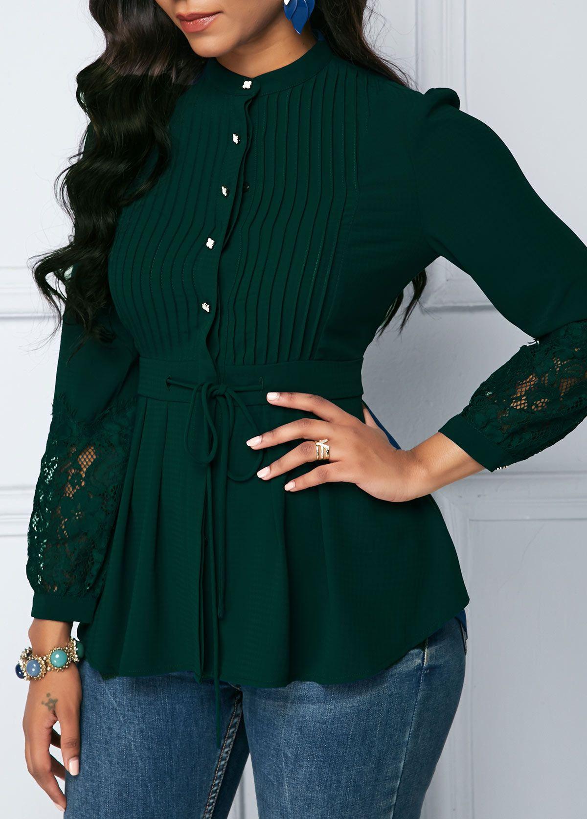 d582c29149d824 Crinkle Chest Lace Panel Dark Green Peplum Blouse | Rotita.com - USD $27.79