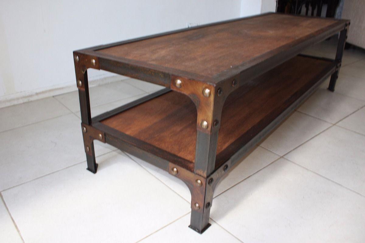Mesa estilo industrial hierro y madera fierro y madera for Mesas industriales vintage