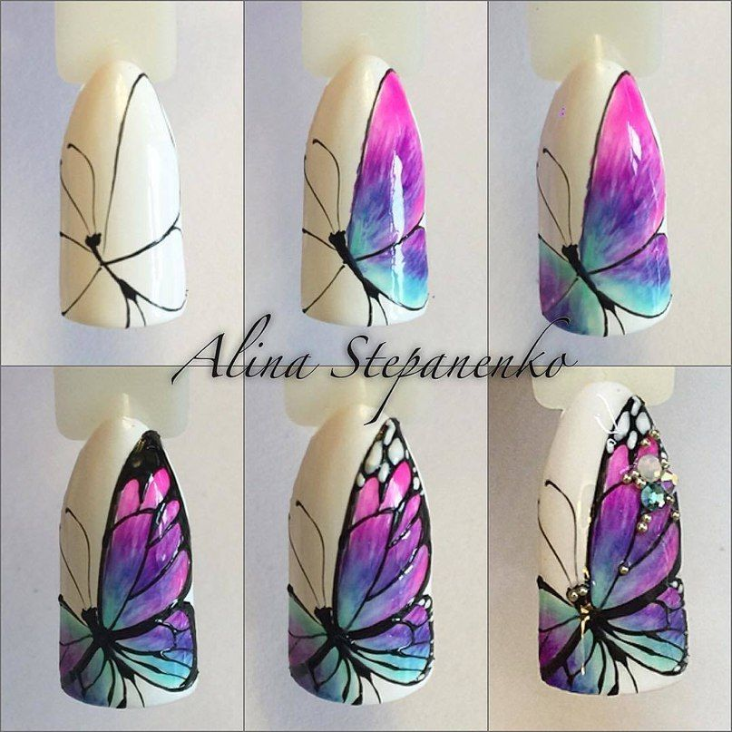 Butterfly Nail Designs Step By Step: Mariposa Especial Con Pedrería