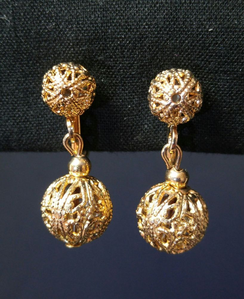 fa235952b Vintage Gold Tone Filigree Dangle Drop Round Ball Screw Back Earrings  #DropDangle