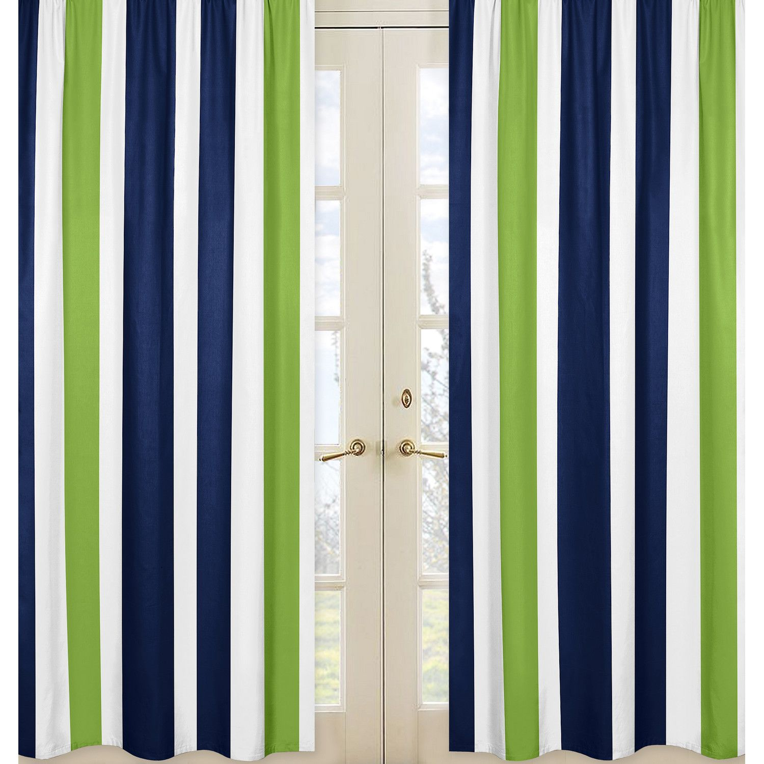 Sweet Jojo Designs Navy Blue And Lime Green Stripe Curtain Panel