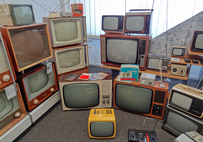 Showcase of East German television sets, DDR Museum