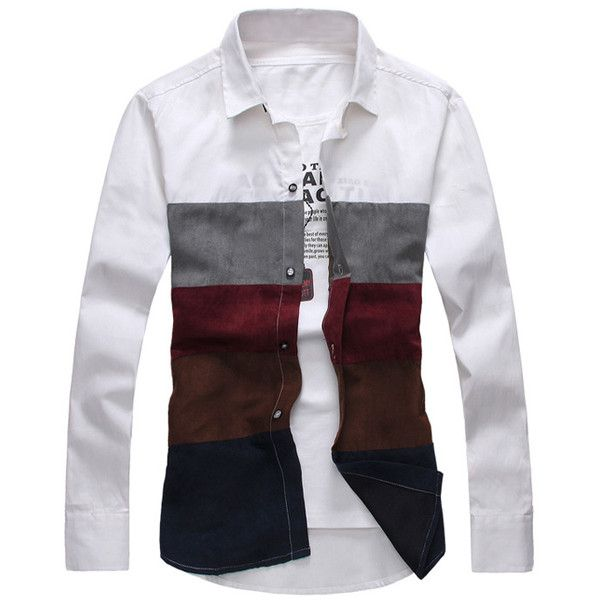 Casual Style Shirt Collar Color Block Broad Stripes Long Sleeves Polyester Shirt For Men