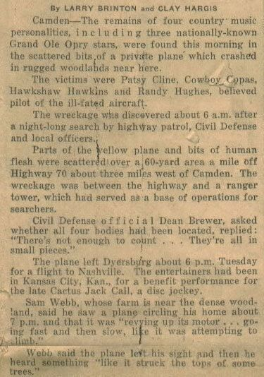1963 news article on plane wreck of Patsy Cline