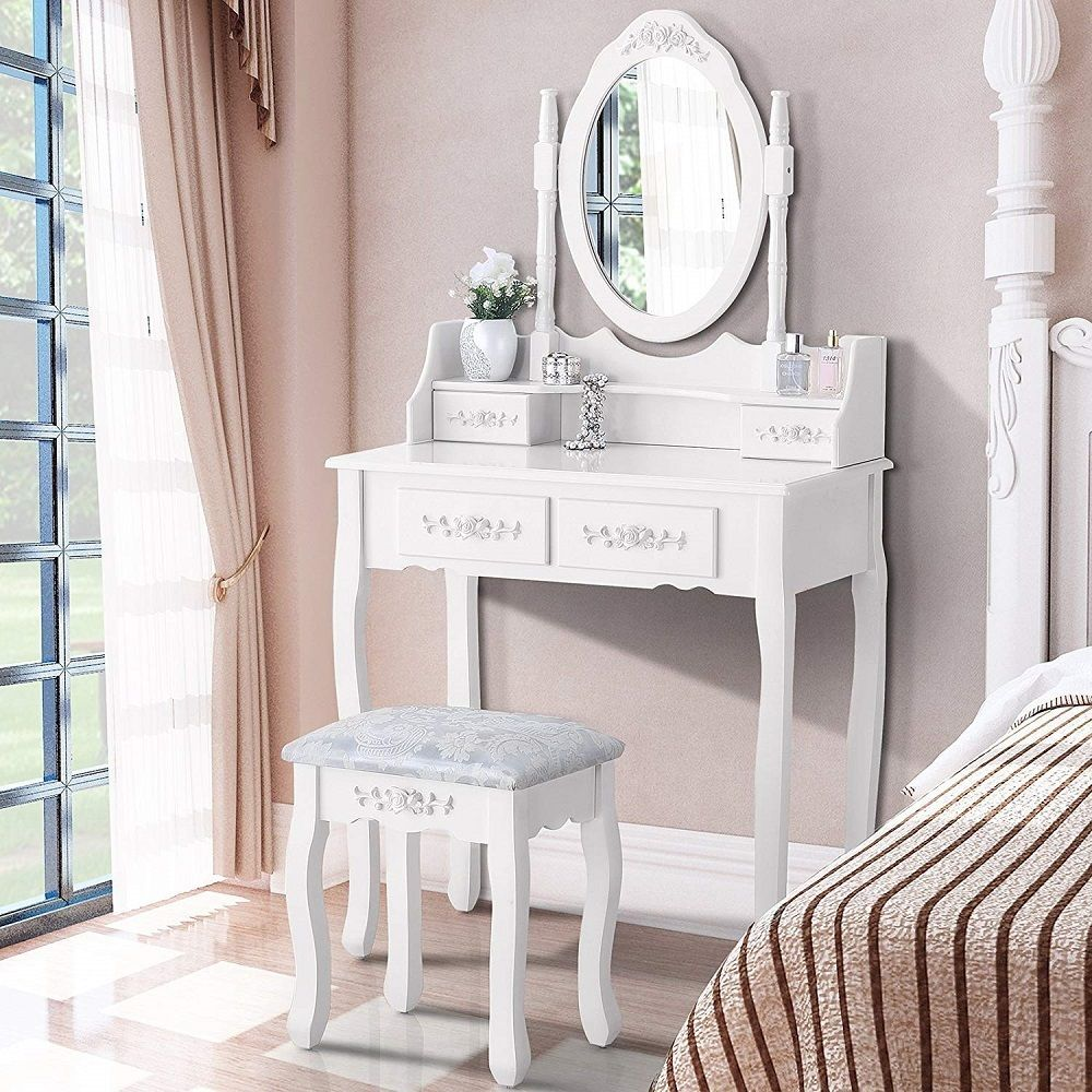 Dressing Table For Girls 4 Drawers Oval Mirror Vanity ...