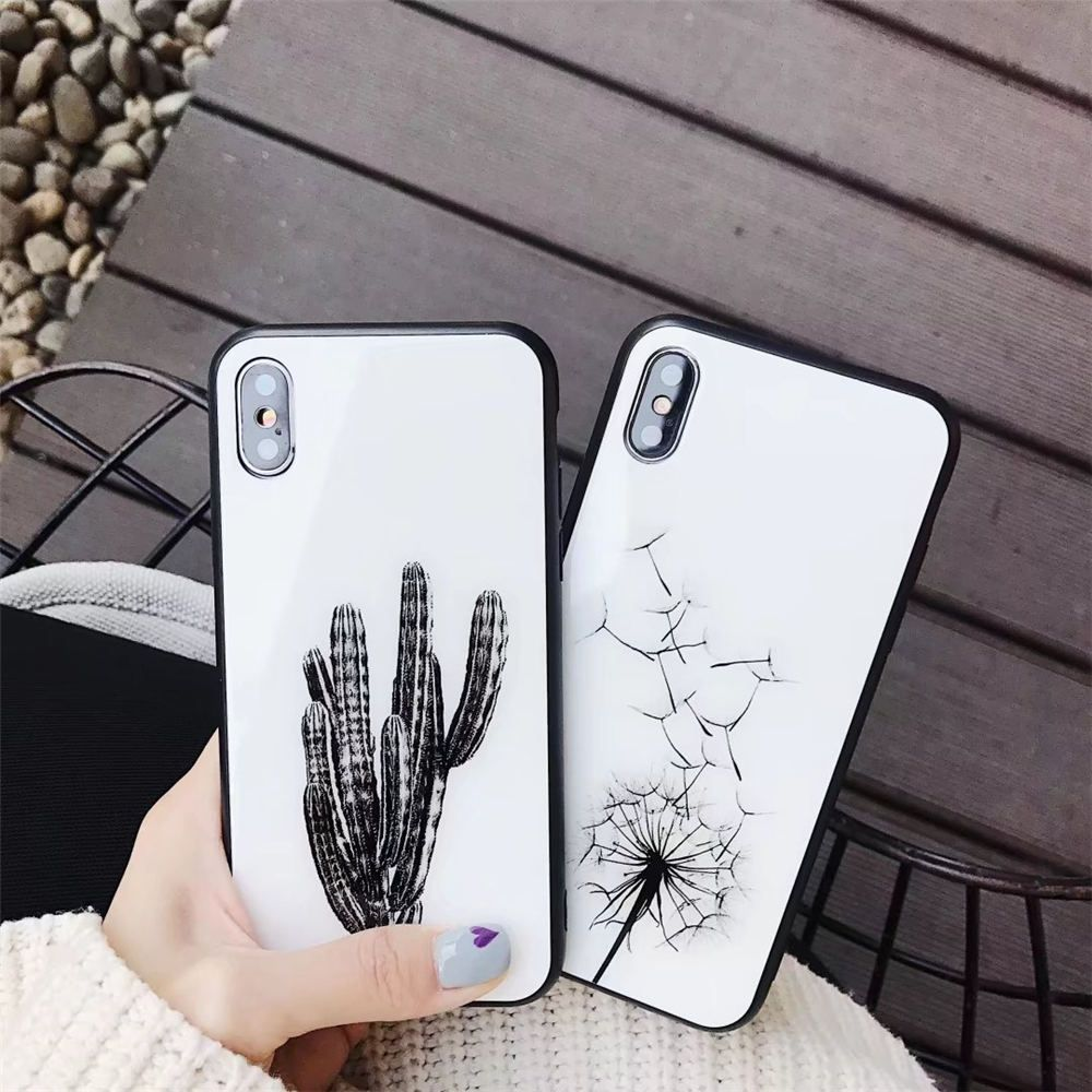 d82c66d1f Cheap Fitted Cases, Buy Directly from China Suppliers:Luxury Tempered Glass Phone  Case For iPhone X 6 6S 7 8 Plus Case Fashion Dandelion Flower Cactus Cover  ...
