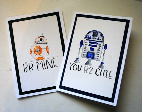 R2d2 bb8 star wars hand painted valentines card calligraphy items similar to one blank valentines day card star wars valentines card star wars valentine card r2d2 bb8 valentine star wars on etsy bookmarktalkfo Choice Image