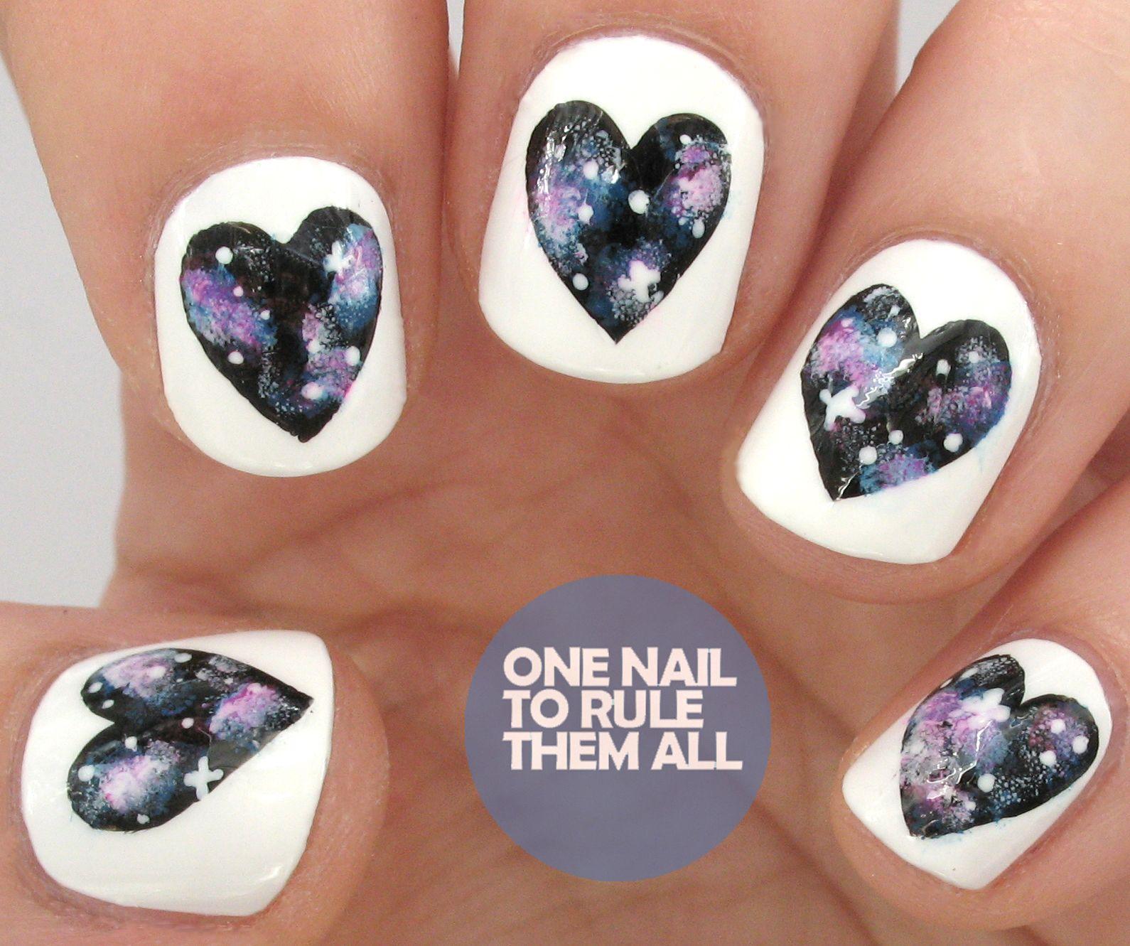Tutorial Tuesday: Galaxy Hearts Nail Art for Divine Caroline (One ...