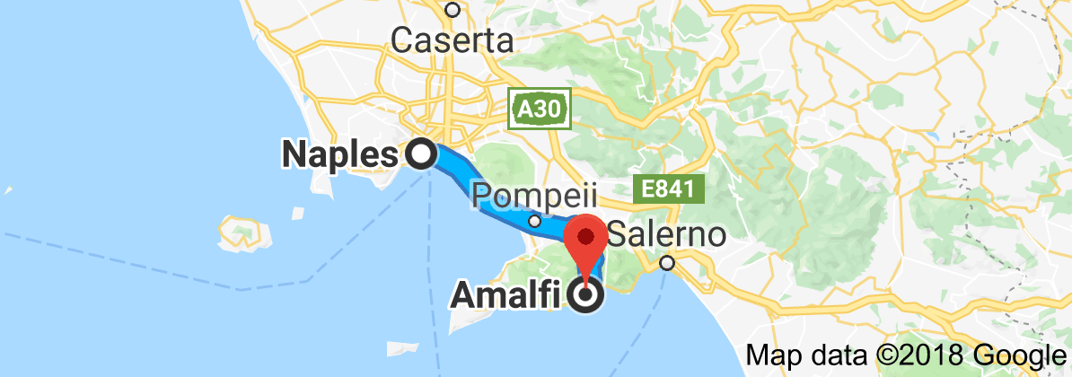 Map from Naples, Metropolitan City of Naples, Italy to Amalfi, 84011 ...