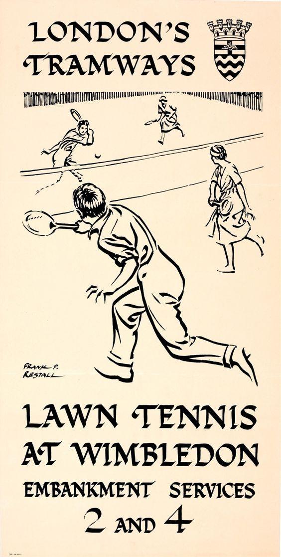 Lawn Tennis Wimbledon 1928 London Travel Poster reproduction.