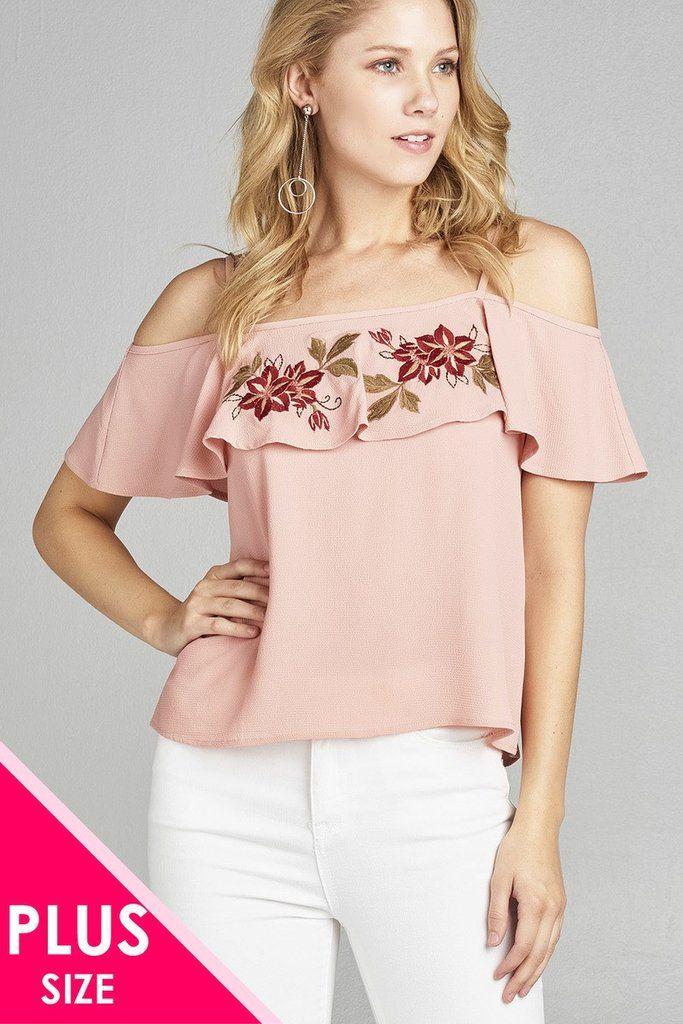 8699733fbd7 Ladies fashion plus size open shoulder flounce w/embo crepe woven top