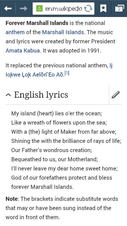 001 Marshall Islands National Anthem Marshall islands