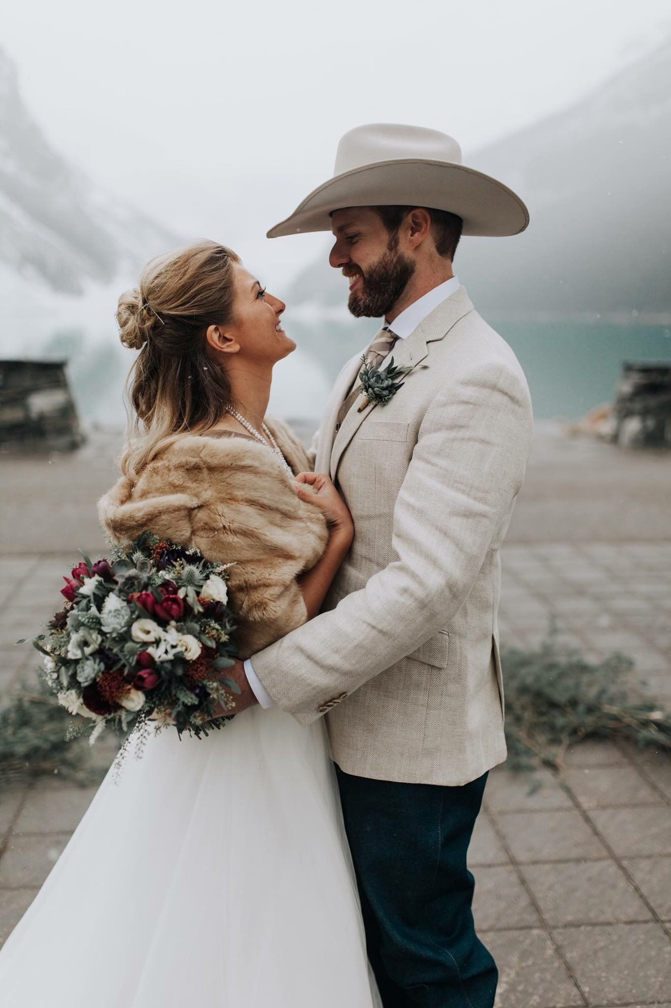 Kenneth And Lydia S Snowy And Elegant Wedding Day In Alberta Canada Winter Wedding Inspiration C Country Groom Attire Cowboy Wedding Attire Cowboy Wedding