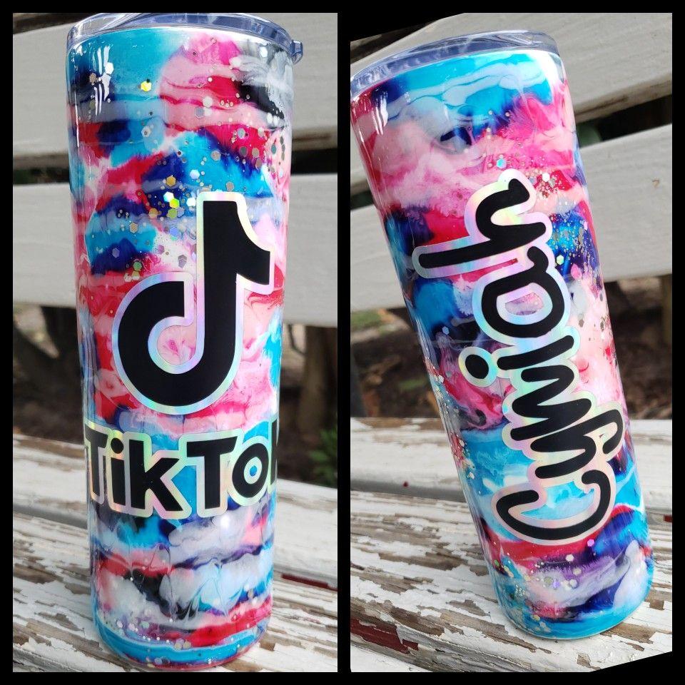 Tik Tok Tumbler Diy Cups Glitter Tumbler Cups Diy Tumblers