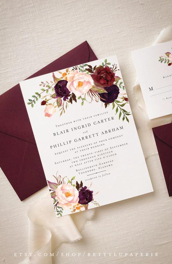 Invitation Suite Fall Winter Fall Wedding Winter Wedding | Etsy